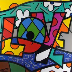 Painting by Romero Britto pieces) Arte Pop, Art Mots, Arte Country, Ecole Art, Valentines Art, Heart Art, Summer Art, Pablo Picasso, Art Plastique