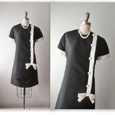 60's Mod Dress // Vintage 1960's Mod Black by TheVintageStudio, $70.00