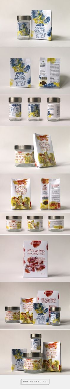 Aquarium Fish Food by Zsófi Paszternák. Pin curated by Clever Packaging, Organic Packaging, Food Packaging Design, Bottle Packaging, Pretty Packaging, Packaging Design Inspiration, Brand Packaging, Branding Design, Animal Nutrition