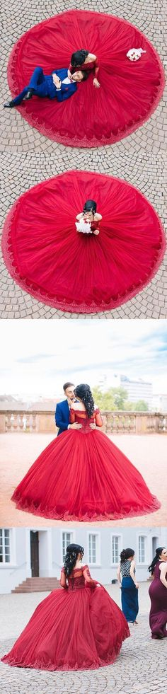 Modest Quinceanera Dress,Red Ball Gown,Fashion Prom Dress,Sexy Party Dress,Custom Made Evening Dress by MeetBeauty, $337.86 USD