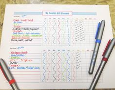 new monthly bill planner | printable