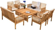 Christopher Knight Home 295746 The Carolina Beckley 8-pc Outdoor Wood Sofa Seating Set, Brown Patina #afflink Outdoor Sofa Sets, Outdoor Furniture Sets, Patio Sets, Deck Furniture, Furniture Decor, Inexpensive Furniture, Farmhouse Furniture, Outdoor Seating, Outdoor Dining