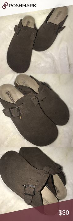 Brown leather Björndal mules Cute classic brown leather mules/clogs with a buckle on the side. Good used condition, wear as seen in the pictures. Genuine leather. Very similar to Birkenstocks so they're listed as such. Birkenstock Shoes Mules & Clogs