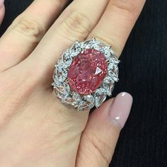 The colour Padparadscha refers poetically to the beautiful blend between the delicate pink glow of the lotus flower and the subtle orange hues of sunset. This Padparadscha sapphire and diamond ring is a remarkable 28.04 carats with excellent purity and attractive pink and orange tones. #magnificentjewels #christieshongkong #2017 @christiesasia