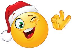 winking emoticon wearing santa hat sticker