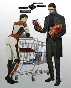 Jensen and Malik (that's her last name) from Deus Ex: Human Evolution. If you look closely Jensen has several cereal boxes in his apartment. Cyberpunk Character, Cyberpunk Art, Deus Ex Universe, Video Game Art, Video Games, Deus Ex Human, Deus Ex Mankind Divided, Wearable Technology, Video Game Characters