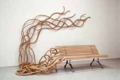 Spaghetti Wall Bench (More amazing outdoor furniture from http://www.wood-furniture.biz/forums/entry.php/566-15-Amazing-Outdoor-Furniture-Design-Ideas)