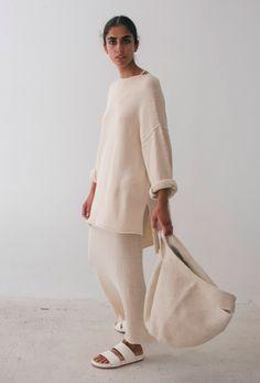 maryamnassirzadehshowroom: Lauren Manoogian Oversize Boatneck, Fine Tank Dress and Crochet Bowl Bag at Maryam Nassir Zadeh.