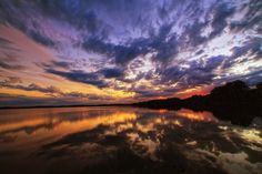 Summers Reflections by Chuck Grinolds on Capture Minnesota // Afterglow mirror on Albert Lea Lake