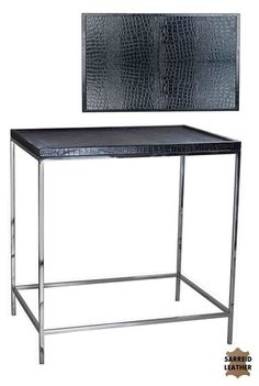 Modern Chrome Table w/ Black Croc Leather Top New Free shipping