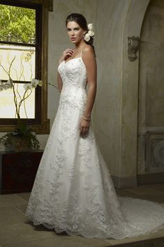 Amazing Spaghetti Straps Wedding Dress with Chapel Train