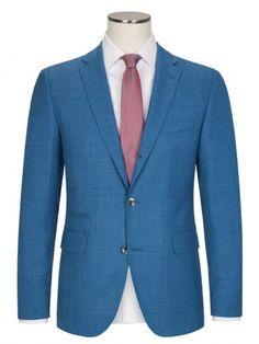 Übergröße: Boss, Edles Designer-Struktursakko in Blau für Herren. Elegant tall sportsjacket for tall men.