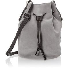 Halston Heritage Bucket Bag (2,500 CNY) ❤ liked on Polyvore featuring bags, handbags, shoulder bags, bucket bag, genuine leather purse, drawstring shoulder bag, halston heritage handbags and drawstring purse