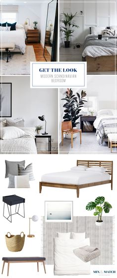 Modern meets Scandinavian in this calming neutral bedroom. Note the warm wood tones in the slatted bed and upholstered bench, the cozy linen bedding, and clean-lined furniture. Get the sources for all of these items over on the Mix & Match blog!