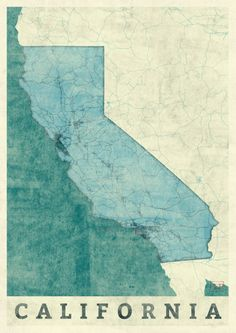 California State Map Blue Vintage Art Print