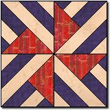 Stripes A' Spinning free quilt block pattern -- uses paper piecing