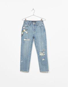 Cigarette fit jeans met glanzende applicaties en stras - Jeans - Bershka Netherlands
