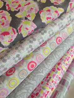 Palermo Fabrics by Erin McMorris for FreeSpirit Fabrics- Neon Gray Fat Quarter Bundle- 6 total on Etsy, $18.00