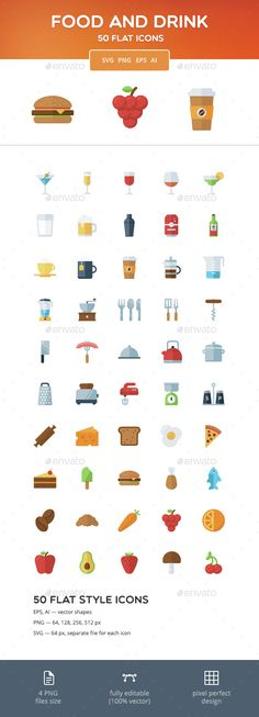 Food and Drink Flat Icons #design Download: http://graphicriver.net/item/food-and-drink-flat-icons/14539375?ref=ksioks