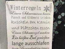 "Shabby Holzschild ""Winterregeln"""