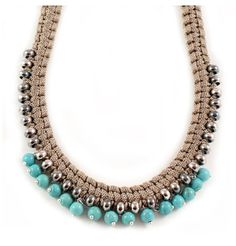 Short braid necklace woven using viscose cord and metal beads with semi-precious bead drops.