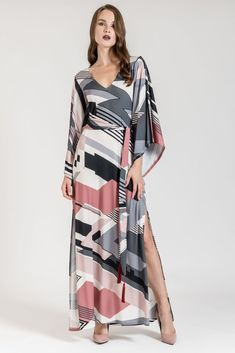 This maxi dress with long cape sleeves is the perfect dress for a fancy all day look. Long Cape, Dress To Impress, Cover Up, Dresses With Sleeves, Fancy, Long Sleeve, Women, Fashion, Moda