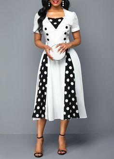 Plus Size Women Rockabilly Polka Dot Print Short Sleeve Button Detail Dress Women's Fashion Dresses, Casual Dresses, Dresses Dresses, Plus Size Party Dresses, Short Sleeve Dresses, Dresses With Sleeves, African Dresses For Women, Polka Dot Print, Dot Dress