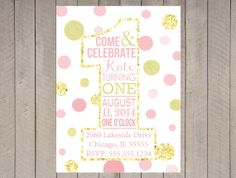 First Birthday Glitter Sparkle Pink Gold by DesignOnPaper on Etsy, $16.00