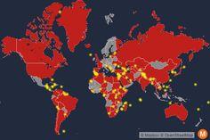Rött visar länder som är inblandade i tvisten, gult visar landområdet som länderna gör anspråk på. Bland annat ingår den obebodd ön Rockall i norra Atlanten som både Danmark, Island och Storbritannien gör anspråk på på grund av fiske- och oljerättigheter.