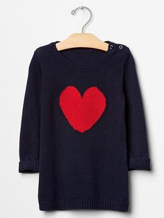 Gap Baby Heart Sweater Dress Size 18-24 M - navy