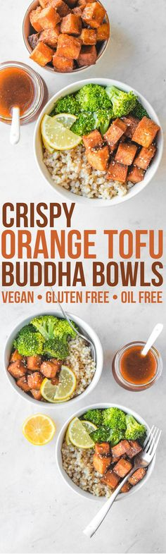 Crispy Orange Tofu Buddha Bowls that are better than takeout! Vegan, Gluten Free, and perfect for Meal Prep #vegan #plantbased #glutenfree #oilfree #mealprep #veganchinese #orangetofu #orangesauce #veganmealprep via frommybowl.com