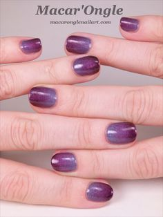 40 great nail art ideas - 3 shades of purple + gradient (ILNP Charmingly Purple + A England Crown of Thistle + ILNP Black Orchid)
