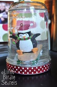 DIY Snow Globe ~ What a fun at home craft for the holidays!  http://littlebirdiesecrets.blogspot.com/2010/12/how-to-make-snow-globe.html