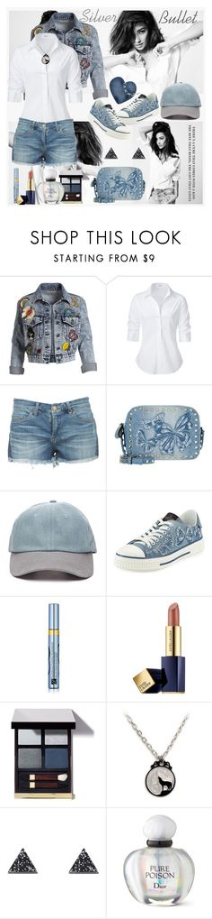 """""""Silver Bullet"""" by julyralewis ❤ liked on Polyvore featuring Alice + Olivia, Steffen Schraut, Valentino, Forever 21, Estée Lauder, Wolf & Moon and Christian Dior"""