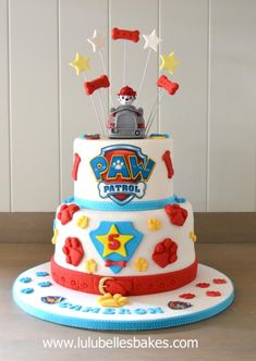 Paw Patrol 2 tier cake More (add ladder) Bolo Do Paw Patrol, Paw Patrol Torte, Marshall Cake Paw Patrol, 3rd Birthday Cakes, Birthday Parties, Card Birthday, Birthday Greetings, Birthday Ideas, Happy Birthday