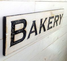 """Bakery Sign Horizontal - 40""""x10"""" Carved in a Cypress Board Rustic Distressed Shop Advertisement Farmhouse Style Restaurant Cafe Wooden Wood *** Click on the image for additional details."""