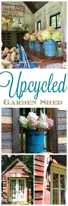 This upcycled garden shed is a feature from Vintagethruthyme on Instagram. They made this shed from salvaged materials. Perfect for a backyard addition. A great she shed or garden shed. Filled with vintage items and hydrangeas. You can truly make something from items people just toss out. Waste not, want not.