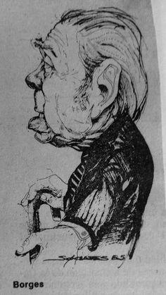 Borges todo el año: Jorge Luis Borges: Sobre pronunciación argentina [*]. Imagen: Caricatura de Borges por Sócrates. Buenos Aires, La Nación, 14 de mayo de 1985