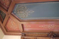 Restauration des ornements d'un plafond à caissons Joelle, Restaurant, Filets, Decoration, Motifs, Curtains, Home Decor, Wall Molding, Moldings
