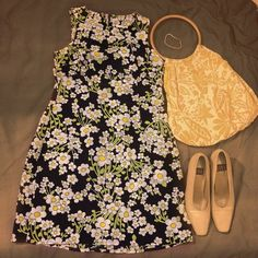 """Splattered With Daisies"" Dress 1960s Style Can't you just imagine a 1960s housewife going to the Garden Club with her hair in a bun, this dress and strappy chunky heels? No? Perhaps I watched too much retro tv as a child. Makes me think of Sharon Tate or Goldie Hawn in her youth.  Cute dress with flower power without the sit ins, worn once. Excellent condition  Rampage Dresses"