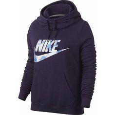 Nike Long Sleeve Cotton Blend Hoodie ($55) ❤ liked on Polyvore featuring tops, hoodies, nike top, hooded pullover, purple hooded sweatshirt, purple hoodie and hooded sweatshirt