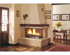Caminetto Martigny Corner Fireplace Mantels, Corner Fireplace Tv Stand, Corner Electric Fireplace, Home Fireplace, Living Room With Fireplace, Fireplace Design, Living Room Decor, Houses In Austin, Facade House