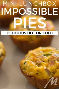 Mini impossible pies recipe: Easy and versatile for lunchboxes Healthy Lunchbox Snacks, Savory Snacks, Lunchbox Ideas, Savoury Recipes, Tart Recipes, Mini Quiche Recipes, Lunch Box Recipes, Frittata Recipes, Savoury Slice