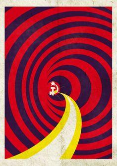 Soviet space propaganda poster.