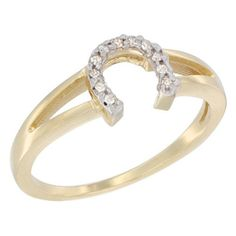 14K Yellow Gold Ladies Diamond Horseshoe Ring 14 inch wide sizes 7 *** Click image for more details.