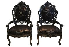 Black Lacquer Faux-Cowhide Chairs, Pair
