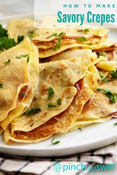 Savory Crepes are a classic French dish - delicious for dinners and make a filling breakfast or lunch! The recipe filling is up to you - so versatile! Make a vegetarian version with just cheese, or fill with thinly sliced ham or chicken and your favorite vegetables (like spinach or mushrooms). Easy Summer Meals, Healthy Summer Recipes, Healthy Breakfast Recipes, Vegetarian Recipes, Healthy Snacks, Easy Make Ahead Appetizers, Easy Dinner Recipes, Easy French Recipes, Classic French Dishes