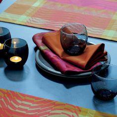 Serviette de table effets graphiques Garnier-Thiebaut - Modèle : Cinetik - Serviette de table en coton - Coloris : feu