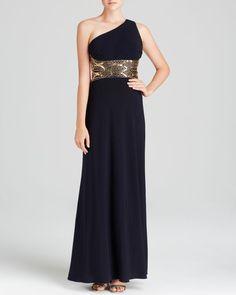Aqua Gown - One Shoulder Embellished Open Back