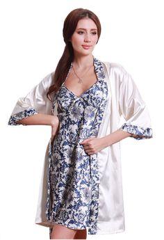Olivery™ Womens Gorgeous Faux Silk Sleepwear Loungewear Dress & Robe 2 pcs Set